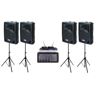 Zestaw nagłaśniający z podwójnym mikrofonem bezprzewodowym 4 x SPC-12 + PMS 208 + MBD 832